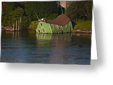 Old Shack Sinking  Greeting Card