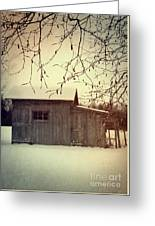 Old Shed In Wintertime Greeting Card by Sandra Cunningham