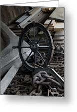Old Ships Wheel, Chains And Wood Planks Greeting Card