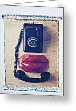 Old Telephone And Red Lips Greeting Card