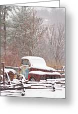 Old Truck Covered In Snow Greeting Card