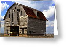 Old Wagon Older Barn Different View Greeting Card