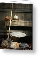 Old Wash Bucket With Mop And Brushes Greeting Card