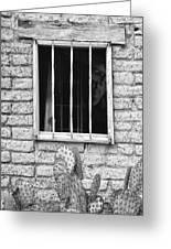 Old Western Jailhouse Window In Black And White Greeting Card