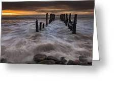 Old Wharf At Sunrise Saint Clair Beach Greeting Card