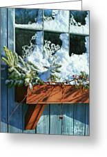 Old Window In Winter Greeting Card by Sandra Cunningham