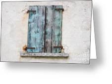 Old Window With Blue Shutte Greeting Card