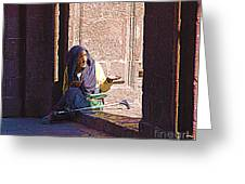 Old Woman In Centro Greeting Card