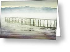 Old Wooden Bridge Into A Mountain Lake On A Foggy Morning Greeting Card