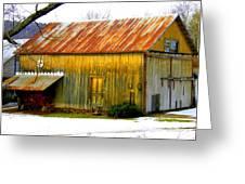 Old Yellow Barn Greeting Card