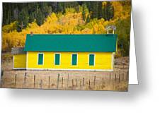 Old Yellow School House With Autumn Colors Greeting Card