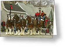 Olde Tyme Travel Clydesdales Greeting Card