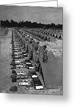 Oldiers Stand By For Inspection Greeting Card