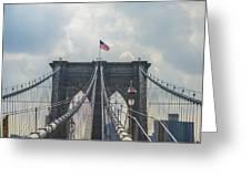 Ole Glory Over Brooklyn Bridge Greeting Card