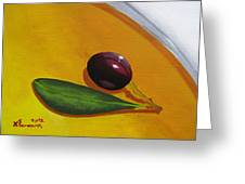 Olive In Olive Oil Greeting Card