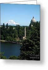 Olympia Wa Capitol And Mt Rainier Greeting Card