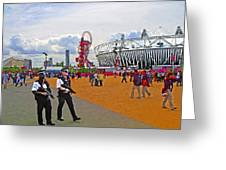 Olympic 2012 Stadium Security Greeting Card by Peter Allen