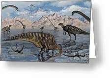 Omeisaurus And Parasaurolphus Dinosaurs Greeting Card
