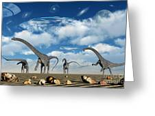 Omeisaurus Dinosaurs Are Startled Greeting Card