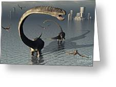 Omeisaurus Sauropod Dinosaurs Cooling Greeting Card