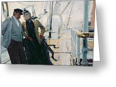 On Deck Greeting Card by Louis Anet Sabatier
