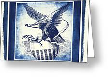 On Eagles Wings Blue Greeting Card