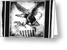On Eagles Wings Bw Greeting Card