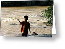 On The Bank Of The River Greeting Card