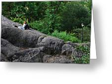 On The Rocks In Central Park Greeting Card