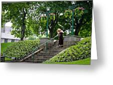 On The Steps Of History Greeting Card by Karen Kennedy