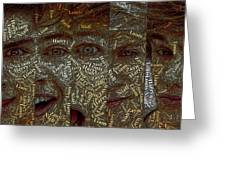 One Direction Faces Mosaic Greeting Card