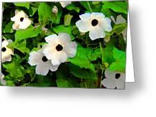 One Eye White Flower Greeting Card