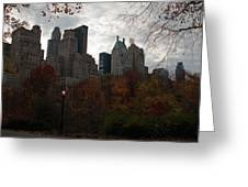 One Light On In Central Park Greeting Card