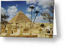 One Of The Pyramids Seen Behind An Arab Greeting Card by Maynard Owen Williams