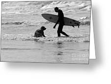 One Surfer And His Dog Greeting Card