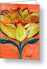 One Yellow Flower And Pinky Peach Behind Greeting Card