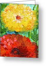 One Yellow One Red And Orange Flower Shines Greeting Card