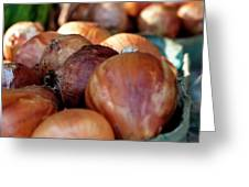 Onions At A Roadside Market Greeting Card by Toni Hopper