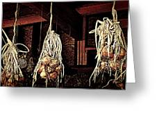 Onions Drying Greeting Card