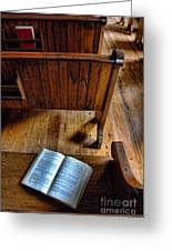 Open Book On Church Pew Greeting Card
