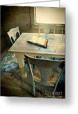 Open Book On Old Table Greeting Card