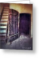 Open Door By Staircase Greeting Card