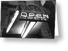 Open For Business Bw Greeting Card