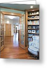Open French Doors And Home Library Greeting Card by Andersen Ross