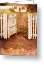 Open Gate To Cottage Greeting Card
