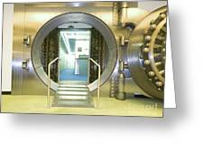 Open Vault At A Bank Greeting Card