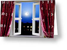 Open Window At Night Greeting Card