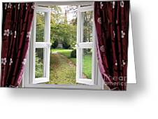 Open Window To A Church Garden Greeting Card