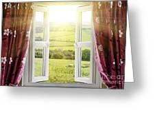 Open Window With Countryside View Greeting Card