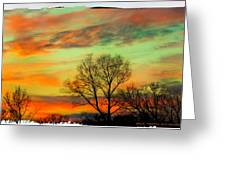 Orange And Blue Sky Greeting Card